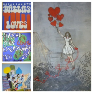 Student artwork for the Dallas Love Project.